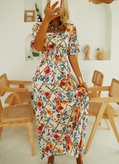 Blomstrete Trykk A-line kjole Firkantet utringning Kortermer Maxi Elegant skater Motekjoler