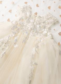 A-Formet Knelengde Blomsterpikekjoler - Tyll Uten Ermer Scoop Hals med Blonder/Profilering/paljetter/Sløyfe (r)