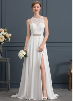 A-Line/Princess Scoop Neck Sweep Train Chiffon Wedding Dress With Beading Split Front