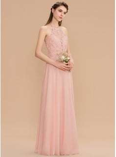 A-Line Halter Floor-Length Chiffon Lace Bridesmaid Dress With Bow(s)