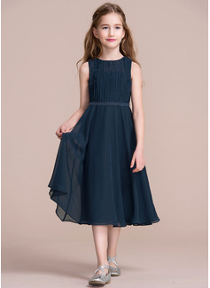 A-Line Scoop Neck Tea-Length Chiffon Junior Bridesmaid Dress With Ruffle