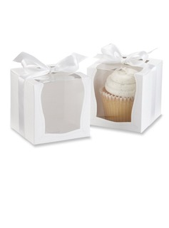 Nice Cubic Card Paper Favor Boxes & Containers/Cupcake Boxes With Ribbons (Set of 12)