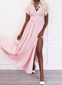 Solid A-line kjole V-hals Kortermer Maxi Elegant Party skater Motekjoler