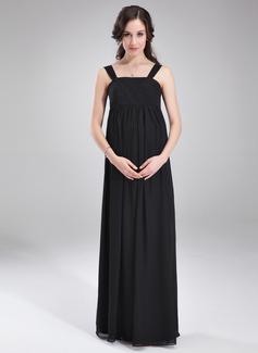Empire Square Neckline Floor-Length Chiffon Maternity Bridesmaid Dress With Ruffle