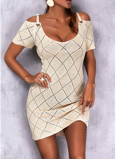 Kald skulder Kortermer Regelmessig Solid Avslappet Gensere kjoler