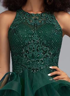 sheer lace mermaid prom dress