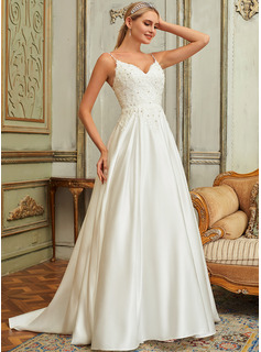 Ball-Gown/Princess V-neck Sweep Train Satin Lace Wedding Dress With Lace Beading Sequins Pockets