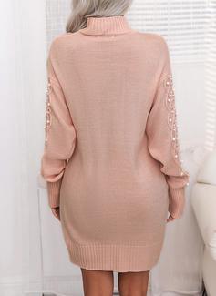 Ståkrage Lange ermer Solid Avslappet Lang Gensere kjoler