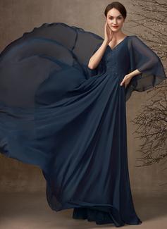 A-formet V-hals Gulvlengde Chiffong Blonder Kjole til brudens mor med Profilering paljetter