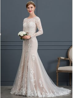 Trumpet/Mermaid Scoop Neck Court Train Tulle Wedding Dress With Beading Sequins Bow(s)