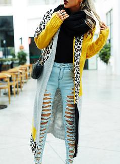 Lange ermer Leopard Color Block Avslappet Lang Cardigans