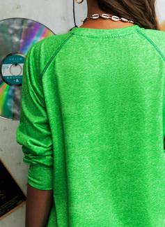 Rund hals Lange ermer Regelmessig Christmas Trykk Figur Jerseykjorte