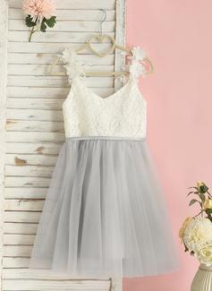 A-Line Knee-length Flower Girl Dress - Tulle/Lace Sleeveless V-neck