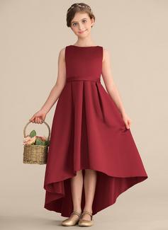 A-Line Scoop Neck Asymmetrical Satin Junior Bridesmaid Dress With Ruffle Pockets