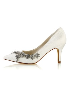 Women's Lace Silk Like Satin Stiletto Heel Pumps With Crystal