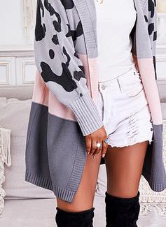 Hette Lange ermer Regelmessig Leopard Color Block Trykk Avslappet Cardigans