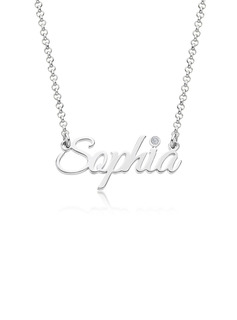Custom Silver Letter Name Necklace Birthstone Necklace With Birthstone - Birthday Gifts