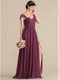A-Line/Princess Sweetheart Floor-Length Chiffon Bridesmaid Dress With Lace Split Front