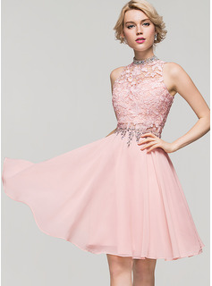 A-Line High Neck Knee-Length Chiffon Cocktail Dress With Beading Sequins