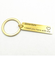 Classic/Simple Rectangular Stainless Steel Keychains