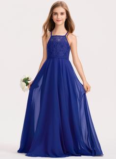 A-Line Square Neckline Floor-Length Chiffon Lace Junior Bridesmaid Dress