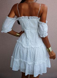 Solid A-line kjole Kald skulder 1/2-ermer Midi Avslappet Ferie skater Motekjoler