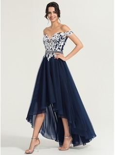 A-Line Off-the-Shoulder Asymmetrical Tulle Evening Dress With Beading Sequins