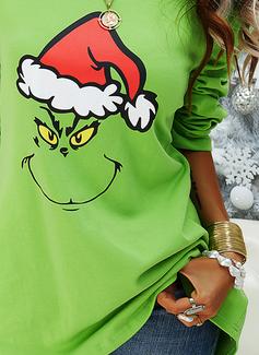 Rund hals Lange ermer Regelmessig Christmas Trykk Jerseykjorte