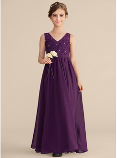 A-Line V-neck Floor-Length Chiffon Lace Junior Bridesmaid Dress With Beading
