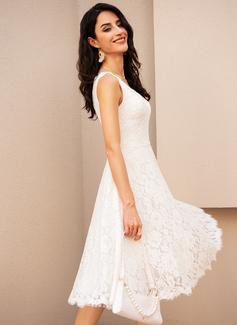 A-Line V-neck Knee-Length Wedding Dress