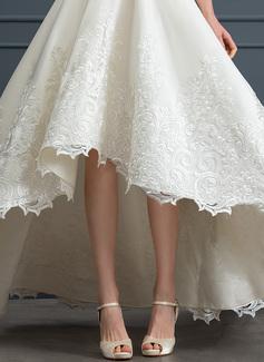A-Formet Firkantet hals Asymmetrisk Satin Brudekjole med Blonder Lommer