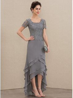 A-Line Scoop Neck Asymmetrical Chiffon Lace Mother of the Bride Dress With Cascading Ruffles