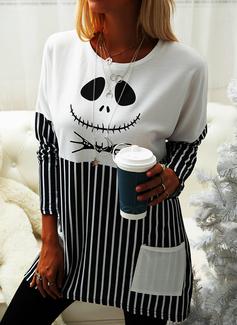 Rund hals Lange ermer Regelmessig Halloween Trykk Stripe Genser