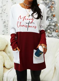 Rund hals Lange ermer Regelmessig Christmas Color Block Trykk lommer Figur Jerseykjorte