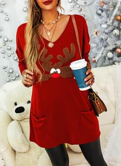 Rund hals Lange ermer Regelmessig Christmas Dyr Ut lommer Jerseykjorte