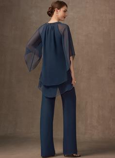 Jumpsuit / Pantsuit Scoop Hals Chiffong Festkjole med Profilering paljetter
