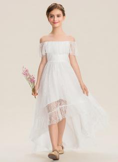 A-Line Off-the-Shoulder Asymmetrical Lace Junior Bridesmaid Dress