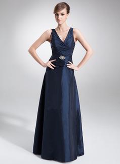 A-formet V-hals Gulvlengde Taft Kjole til brudens mor med Frynse Profilering
