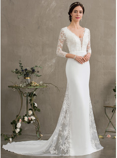 Trumpet/Mermaid V-neck Chapel Train Chiffon Wedding Dress With Beading Sequins