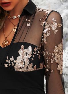 Blomstrete Trykk Bodycon Skjortekrage Lange ermer Midi Elegant Motekjoler