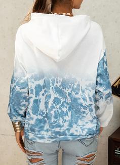 Lange ermer Regelmessig Trykk Tie Dye lommer Figur Hettegenser