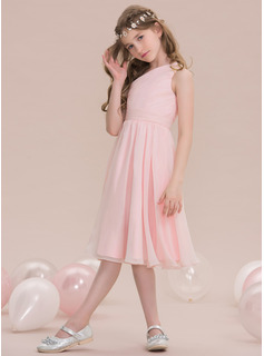 A-Line One-Shoulder Knee-Length Chiffon Junior Bridesmaid Dress With Ruffle