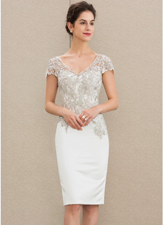 Sheath/Column V-neck Knee-Length Satin Lace Mother of the Bride Dress