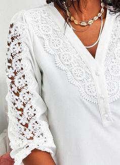 Regelmessig Montert Blonder Solid Button up Elegant Trekvart ermer