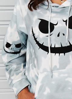Lange ermer Regelmessig Halloween Trykk Tie Dye Hettegenser