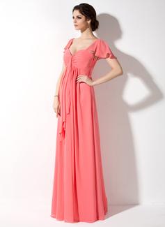 Empire Sweetheart Floor-Length Chiffon Maternity Bridesmaid Dress With Cascading Ruffles
