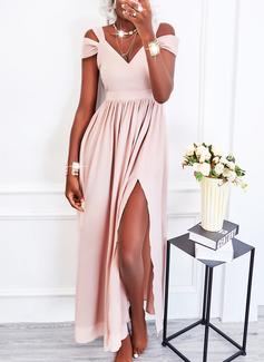 Solid A-line kjole Kald skulder Kortermer Maxi Elegant Party skater Motekjoler