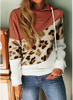 Lange ermer Regelmessig Color Block Leopard Hettegenser