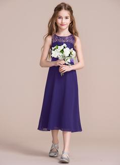 A-Line Scoop Neck Tea-Length Chiffon Junior Bridesmaid Dress