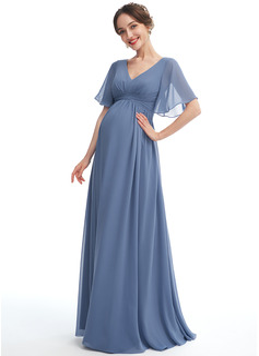 A-line kjole V-hals Gulvlengde Chiffong Brudepikekjole for Gravide med Frynse